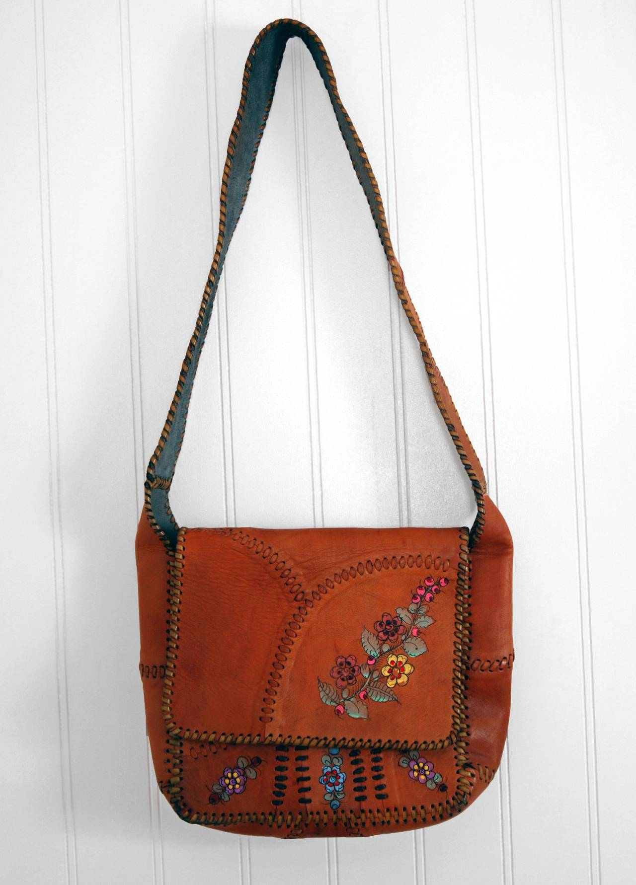 1970's Char Handpainted Whipstitched Leather Bohemian Hippie Messanger Bag Purse 2