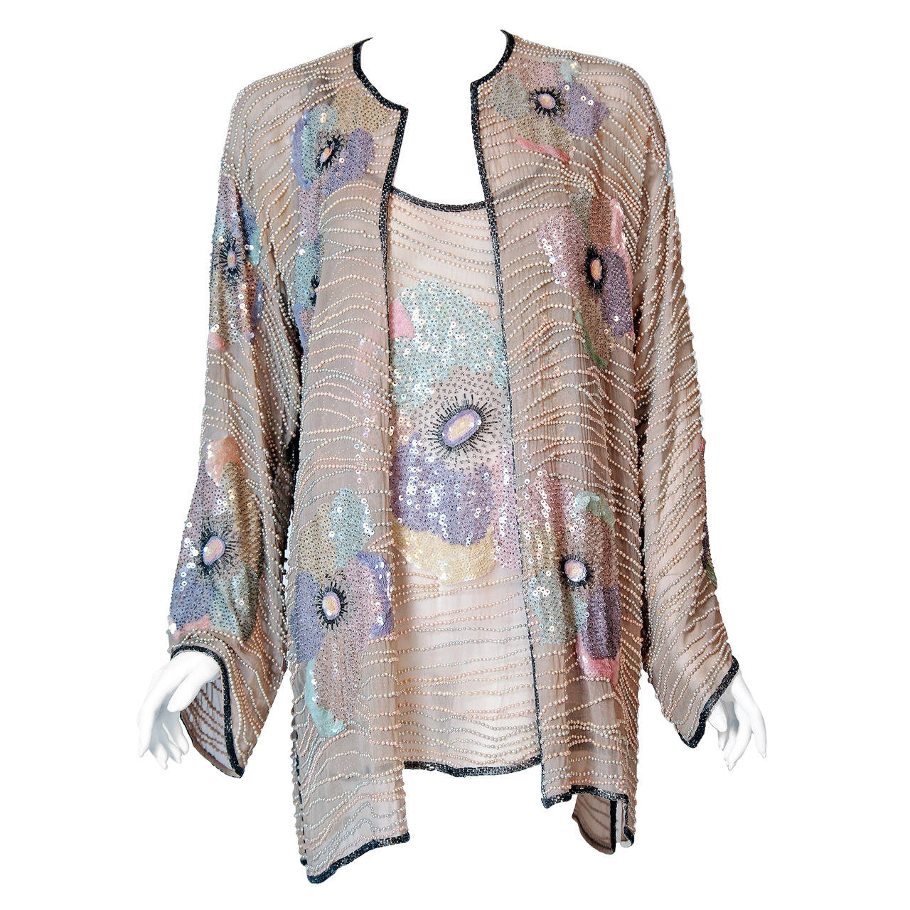1970's Halston Beaded Sequin Pastel Floral Silk Kimono Bell-Sleeve Jacket Set