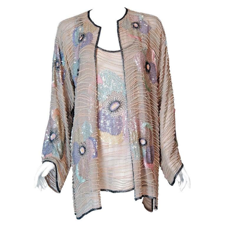 1977 Halston Couture Beaded Sequin Pastel Floral Silk Kimono Jacket & Blouse Set For Sale