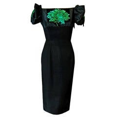 1950's Pattullo-Jo Copeland Black & Green Floral Silk Sculpted Cocktail Dress