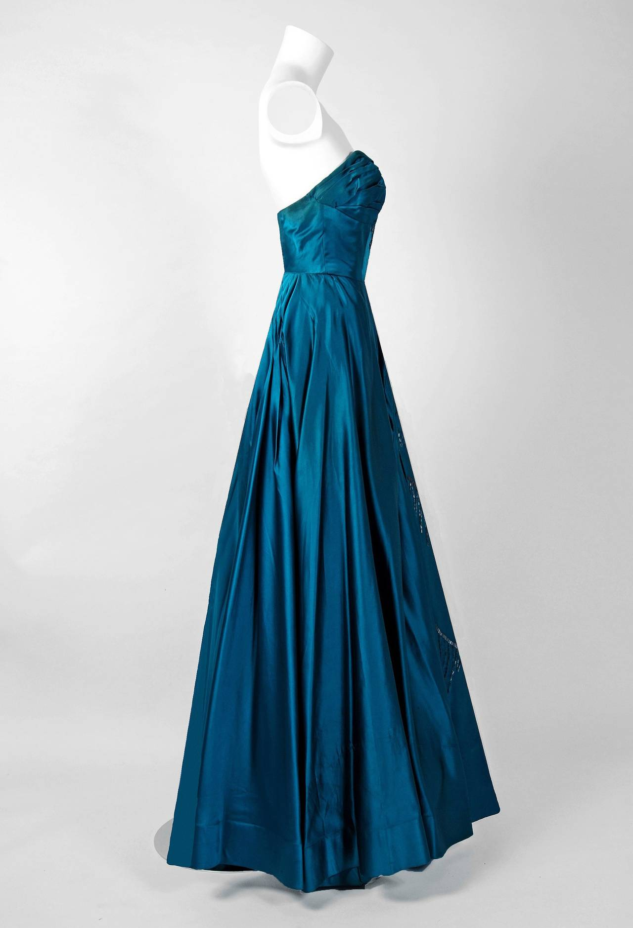 1950's Historical Yma Sumac Beaded Blue Satin & Chiffon Strapless Evening Gown 5