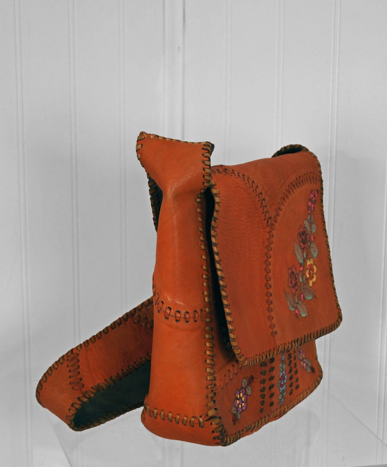 1970's Char Handpainted Whipstitched Leather Bohemian Hippie Messanger Bag Purse 4