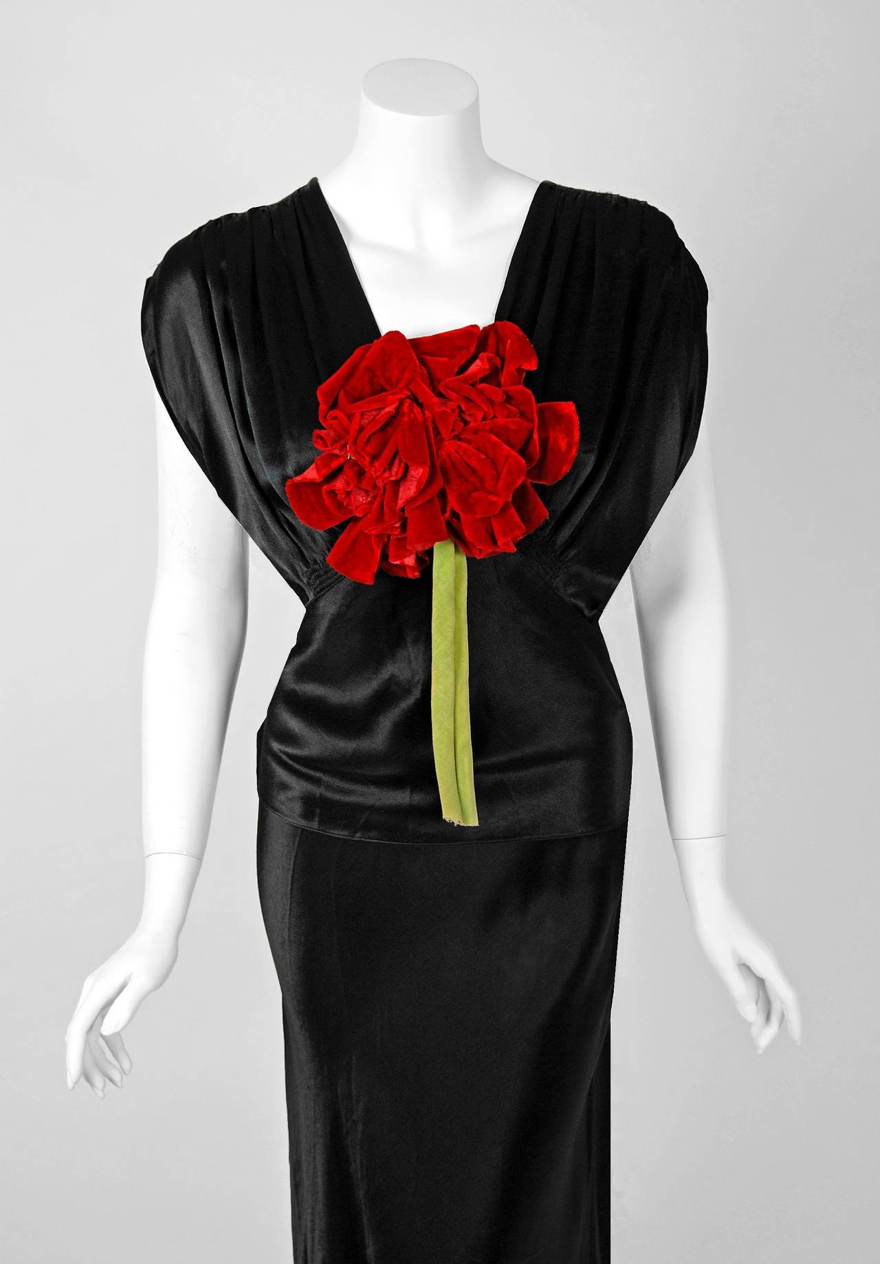 1930s seductive black silk satin red rose applique bias cut deco a stunning black silk satin deco dress from the old hollywood era of ombrellifo Image collections