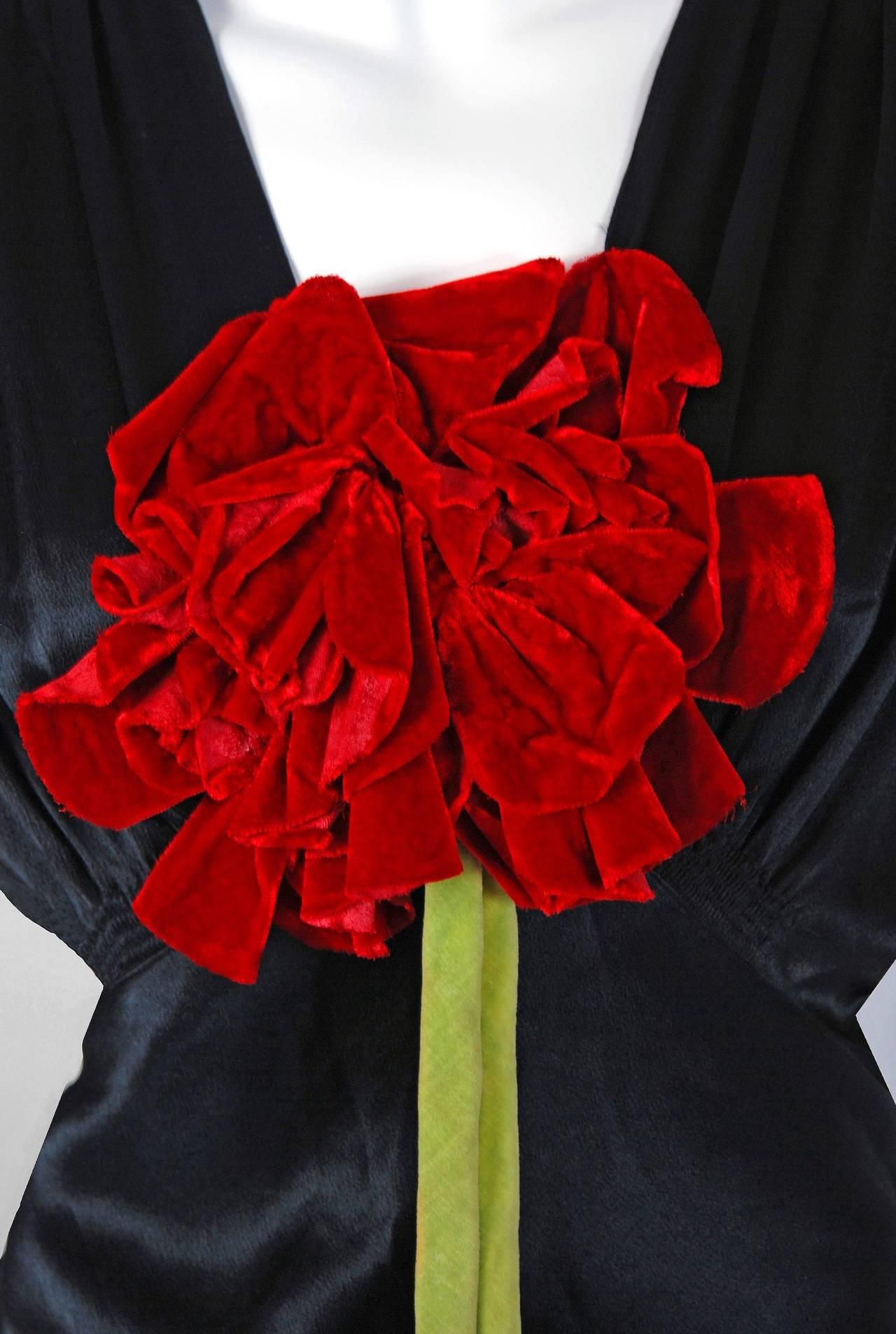 1930 S Seductive Black Silk Satin Red Rose Applique Bias