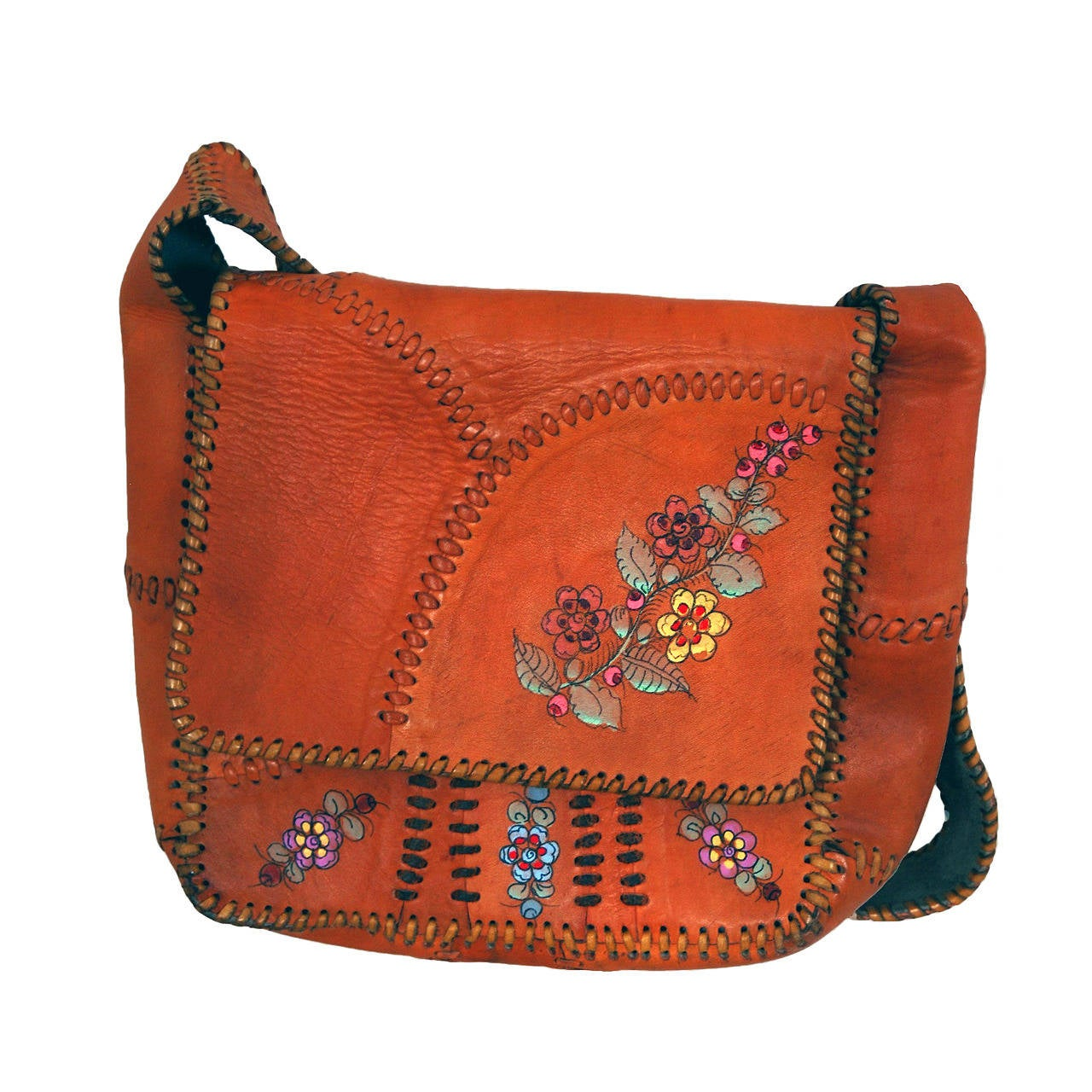 1970's Char Handpainted Whipstitched Leather Bohemian Hippie Messanger Bag Purse 1