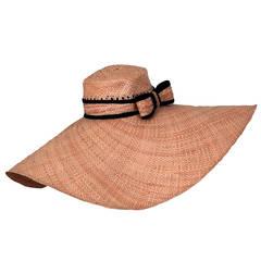 1960's Dramatic Woven Straw Large Wide Brim Bow Floppy Beach Resort Hat
