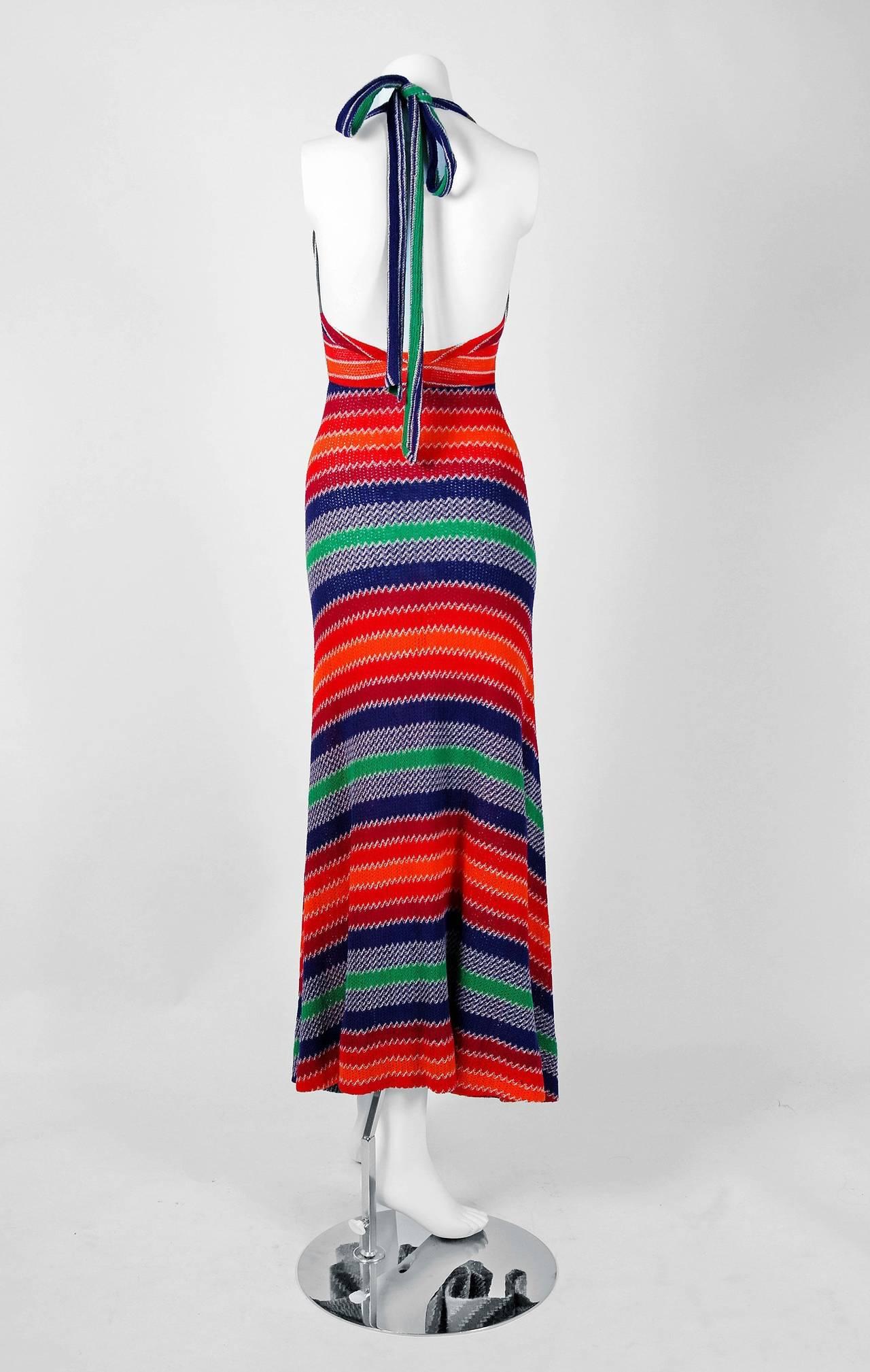 1970's Missoni Vibrant Rainbow Stripe Graphic Knit Bias-Cut Halter Maxi Dress 5