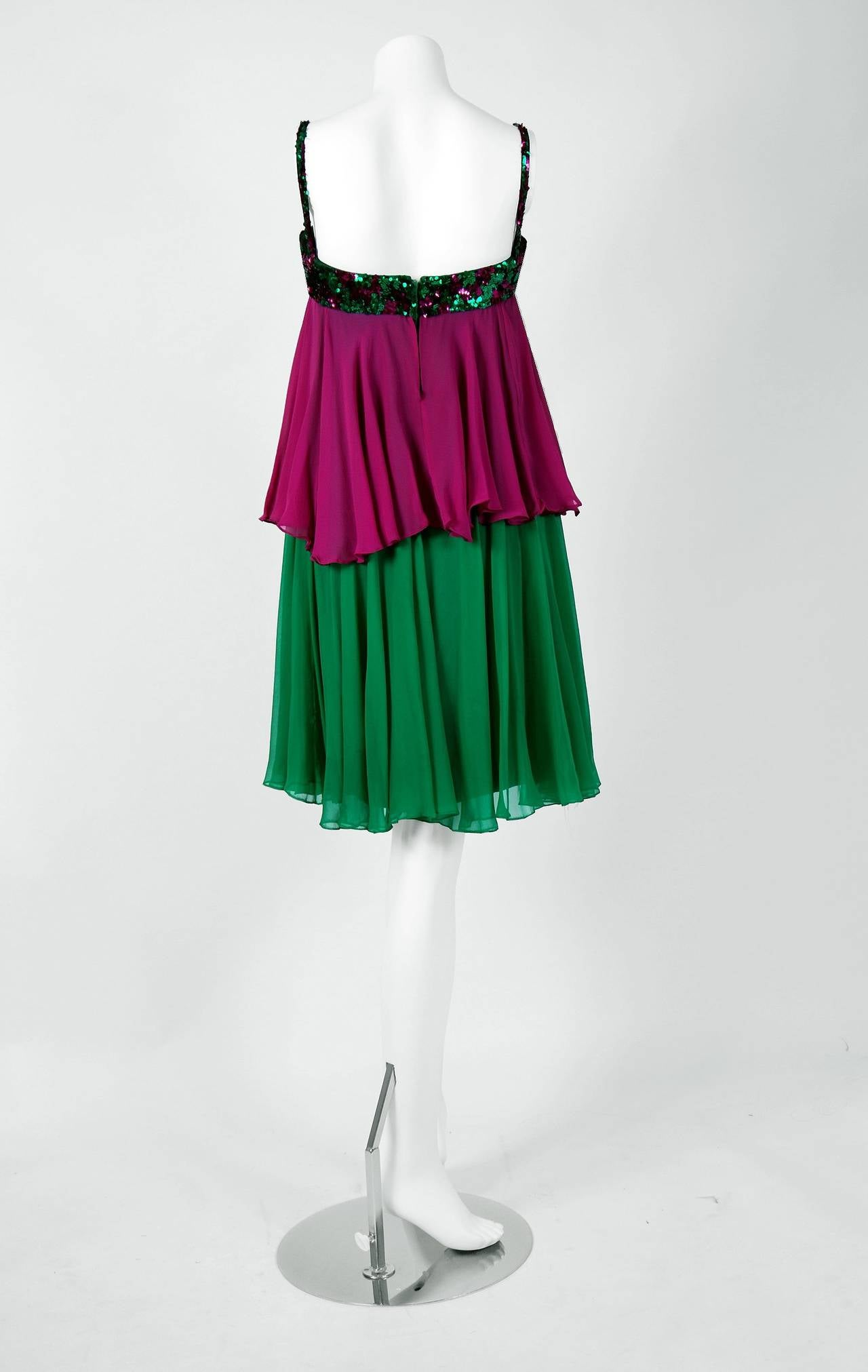 Women's 1960's Maisonette Couture Green & Fuschia Tiered Sequin Silk-Chiffon Party Dress For Sale