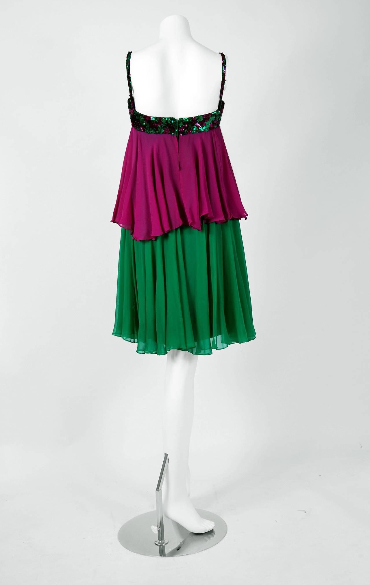 1960's Maisonette Couture Green & Fuschia Tiered Sequin Silk-Chiffon Party Dress 5