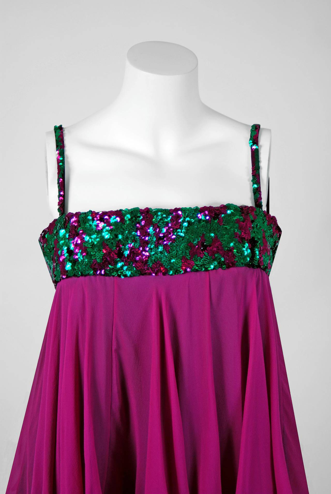 Blue 1960's Maisonette Couture Green & Fuschia Tiered Sequin Silk-Chiffon Party Dress For Sale