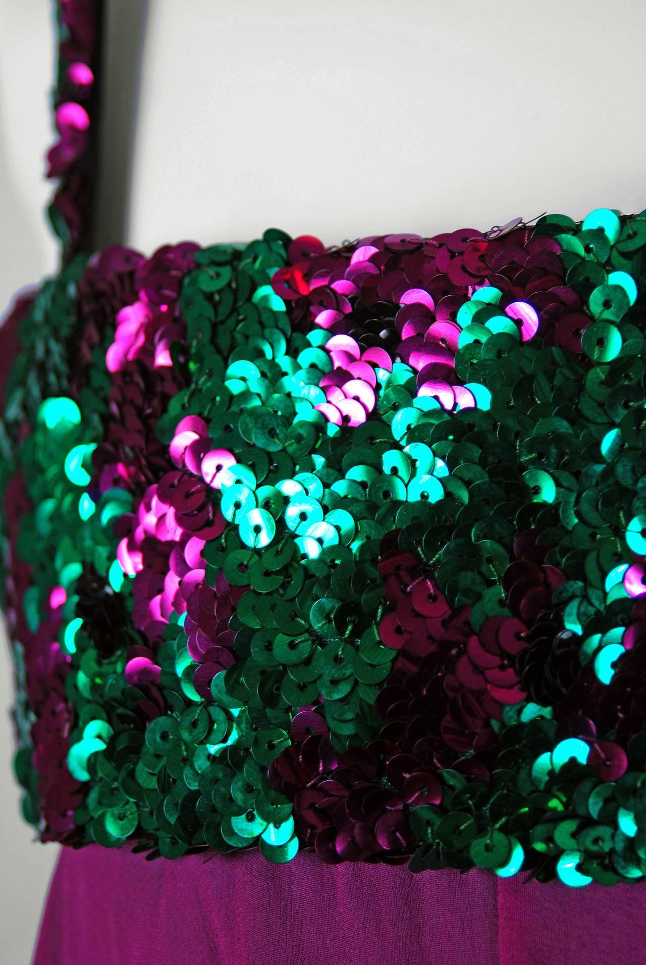 1960's Maisonette Couture Green & Fuschia Tiered Sequin Silk-Chiffon Party Dress 4