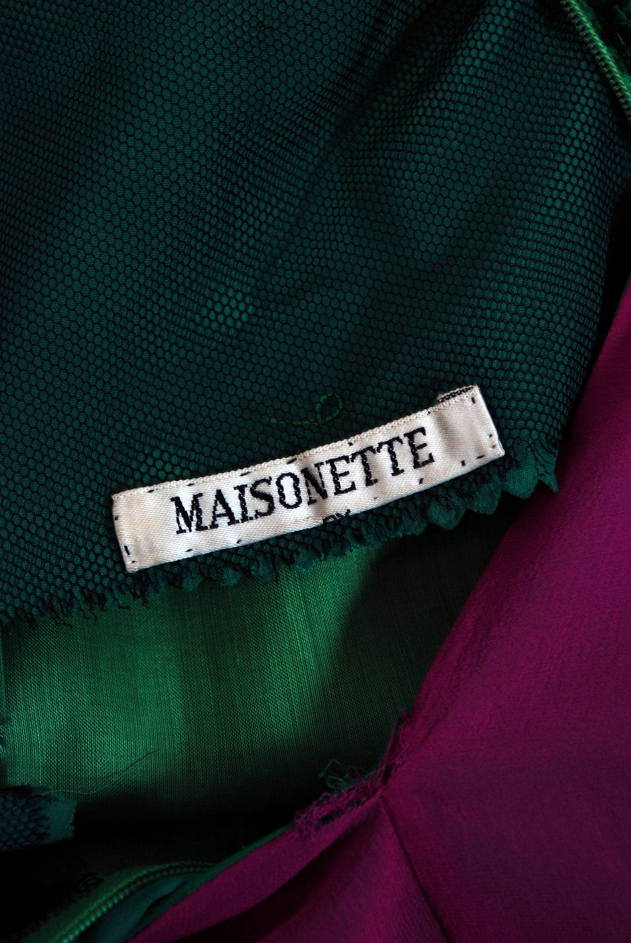 1960's Maisonette Couture Green & Fuschia Tiered Sequin Silk-Chiffon Party Dress For Sale 1