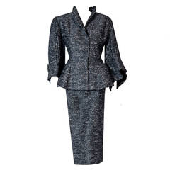 1940's Lilli-Ann Charcoal Gray Rhinestone Silk Pleated Bell-Sleeve Cocktail Suit