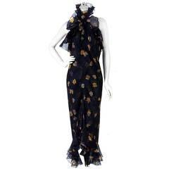 1970's Bill Blass Floral Print Silk-Organza Ruffle Halter Hourglass Dress Gown