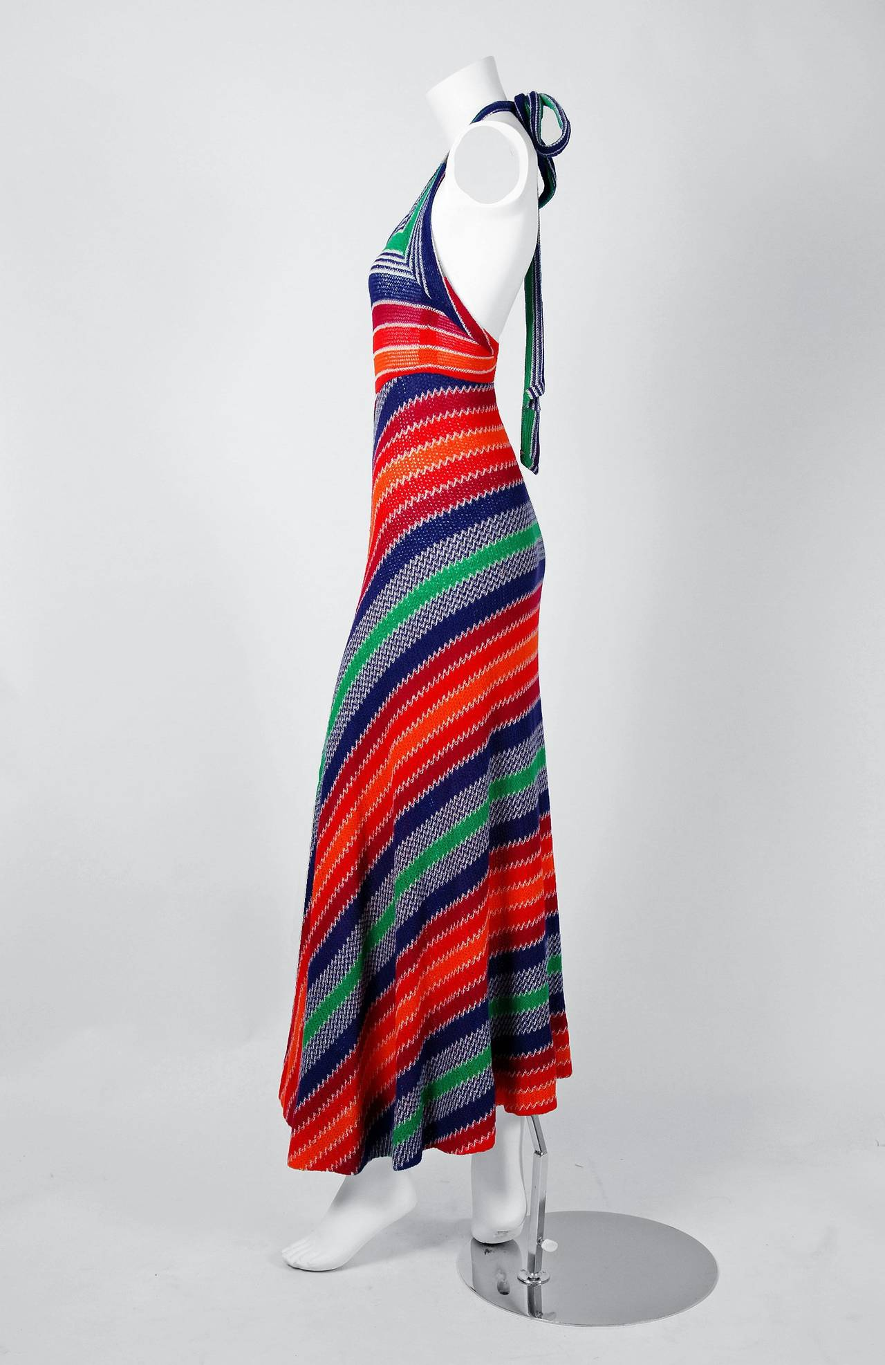 1970's Missoni Vibrant Rainbow Stripe Graphic Knit Bias-Cut Halter Maxi Dress 2