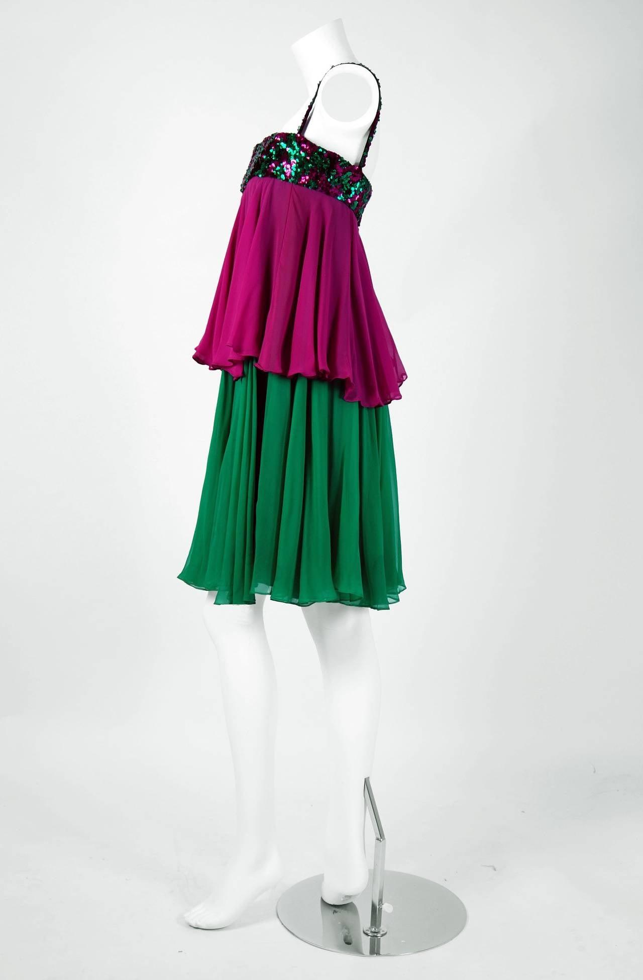 1960's Maisonette Couture Green & Fuschia Tiered Sequin Silk-Chiffon Party Dress 2
