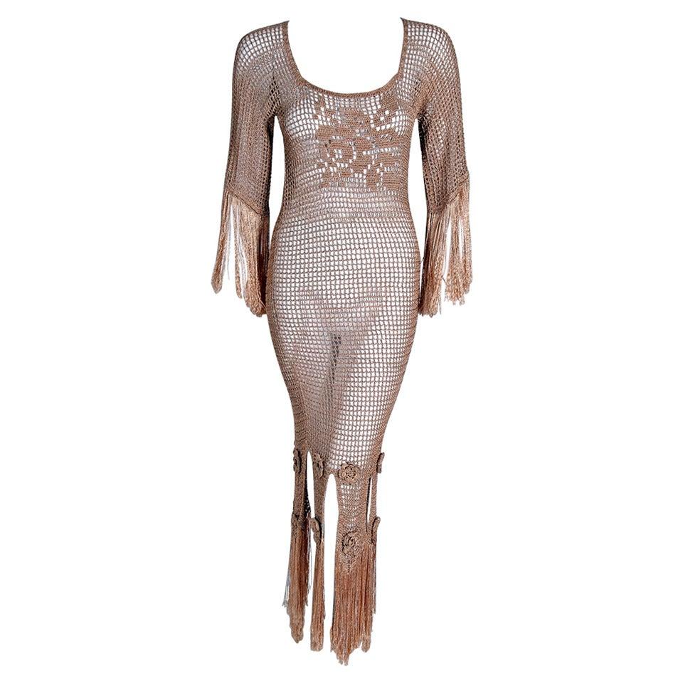 1930's Seductive Nude Silk-Knit Crochet Applique Illusion Fringe Hourglass Gown