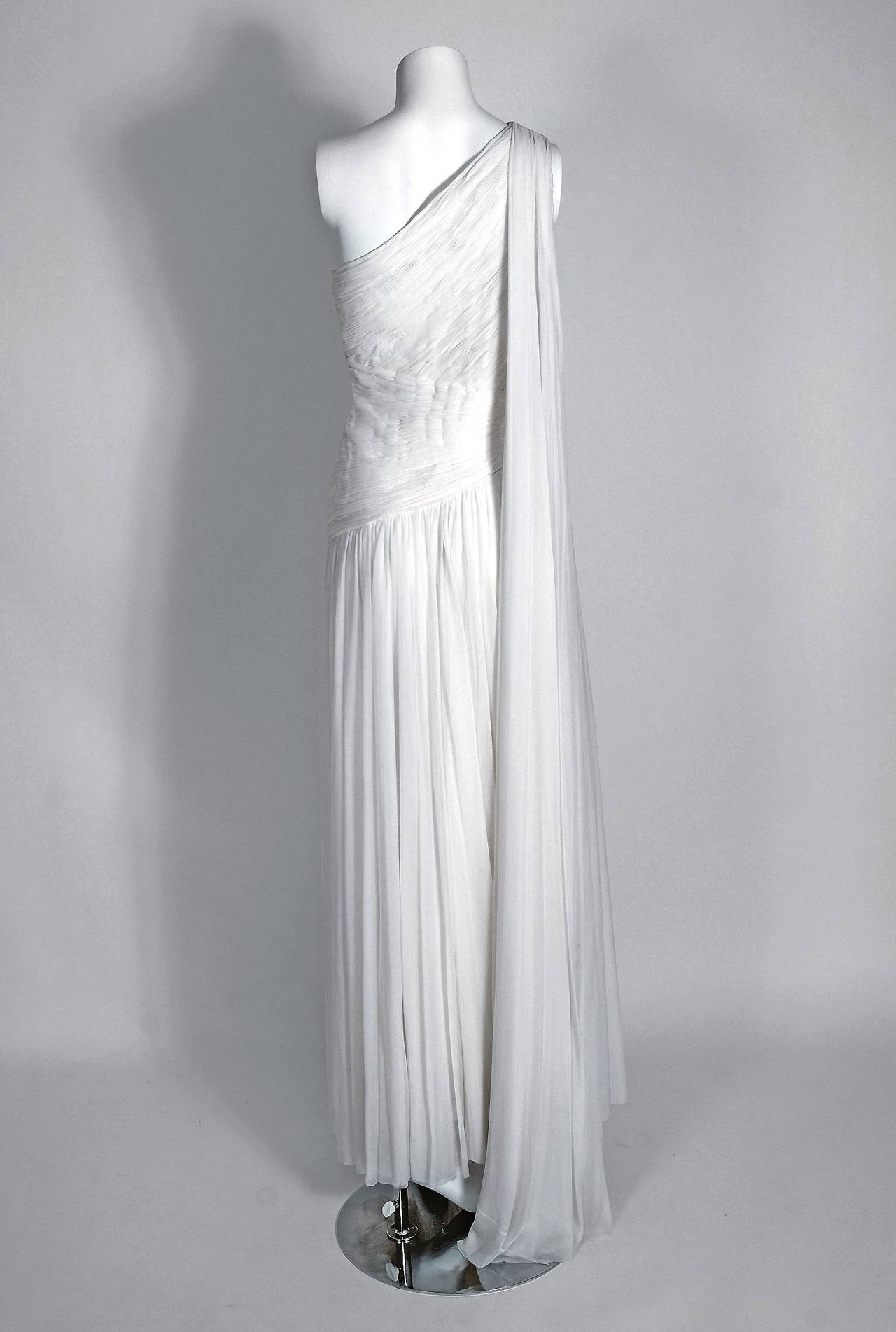 1970's Claude Riha Couture White Pleated Chiffon One-Shoulder Grecian Gown 4