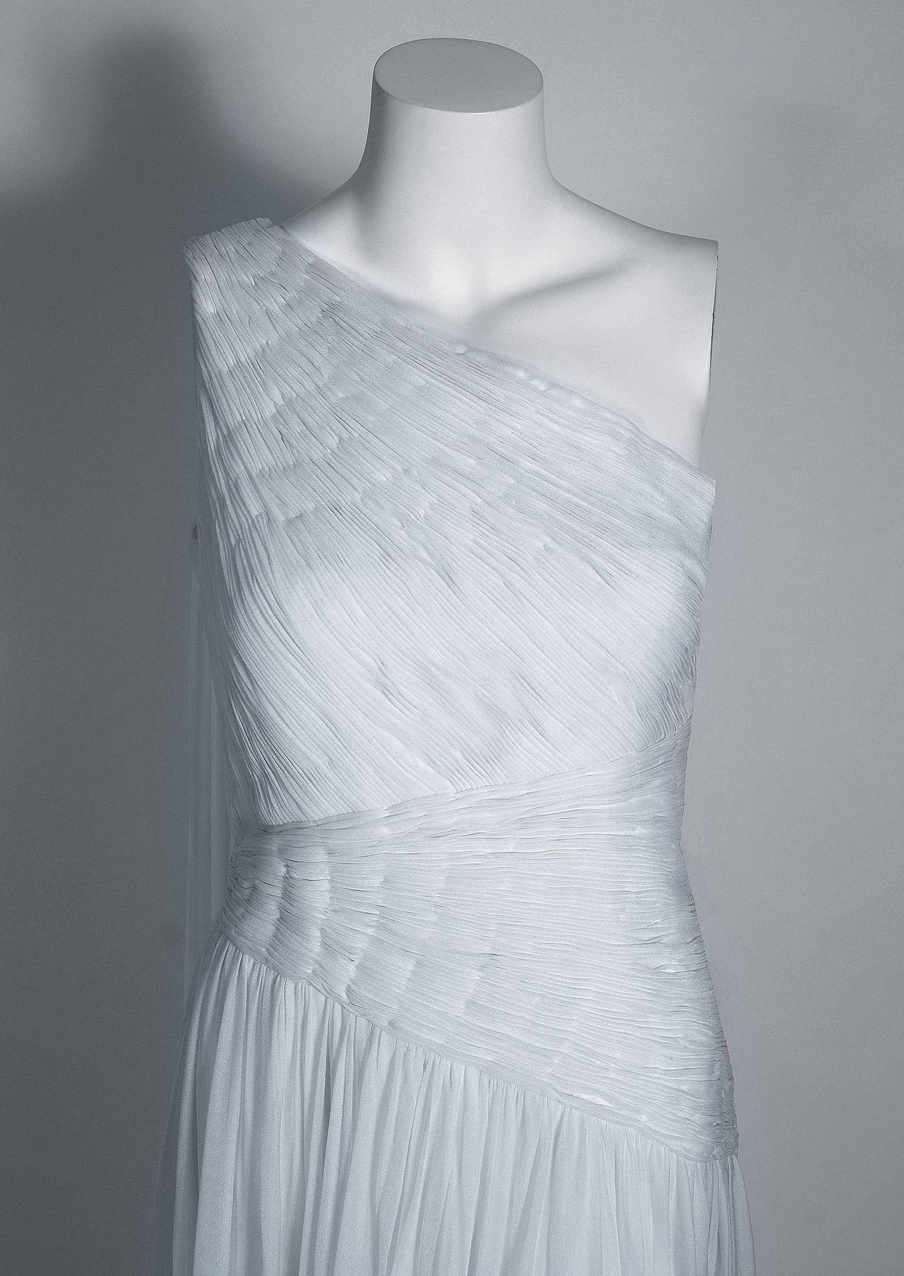1970's Claude Riha Couture White Pleated Chiffon One-Shoulder Grecian Gown 2