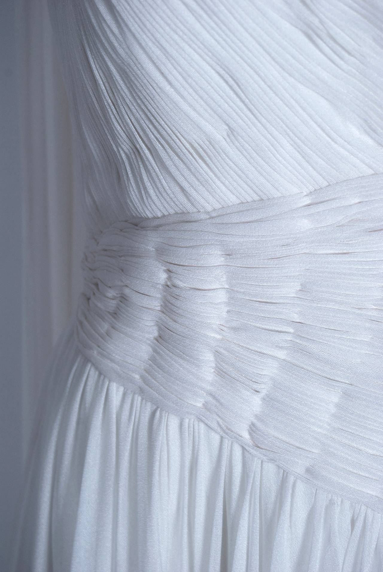 1970's Claude Riha Couture White Pleated Chiffon One-Shoulder Grecian Gown 3