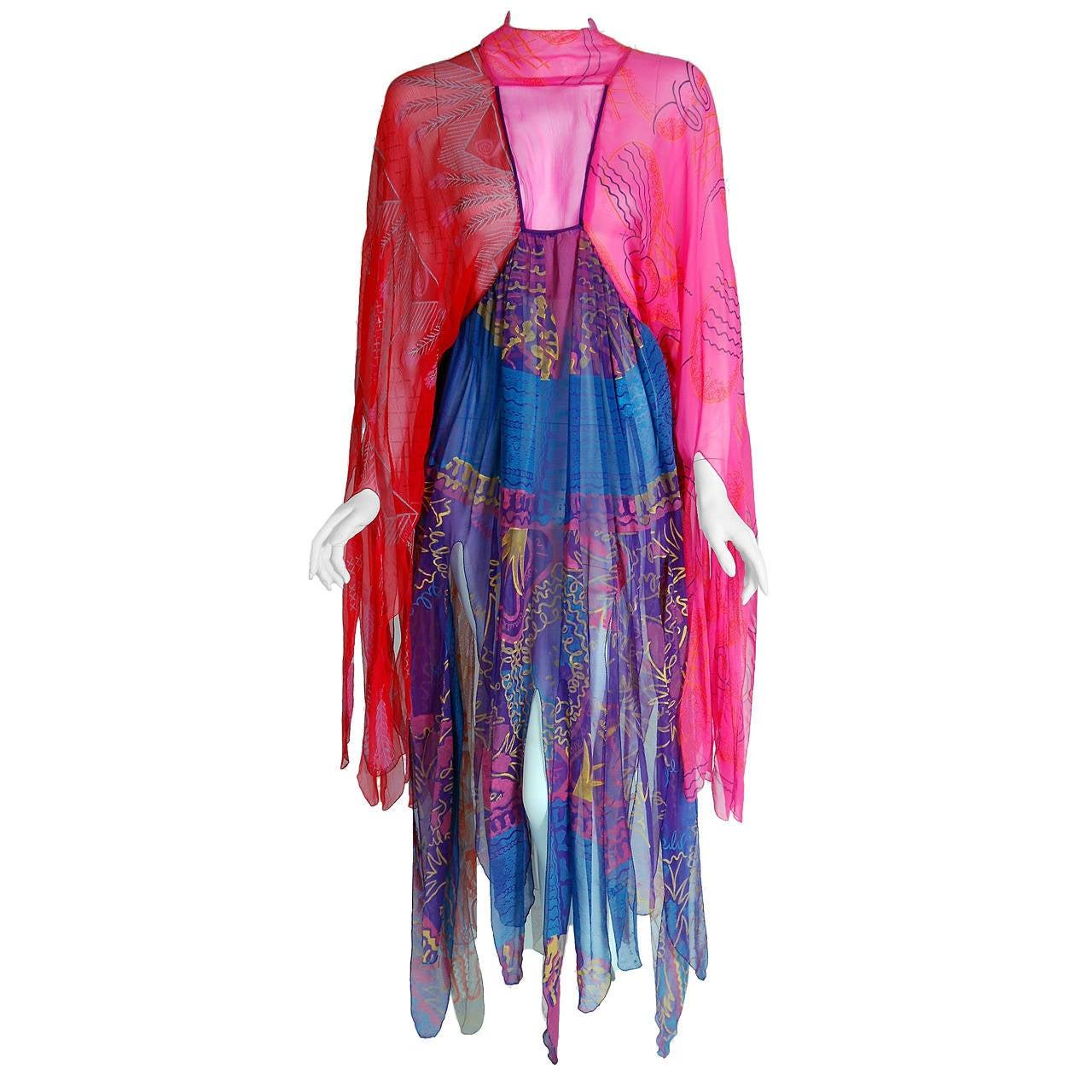 1972 Zandra Rhodes Hand-Painted Indian Feathers & Lillies Silk Caftan Dress 1