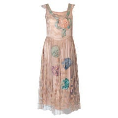 1920's Callot Soeurs Couture Attribute Silk Rosettes Filet-Lace Flapper Dress