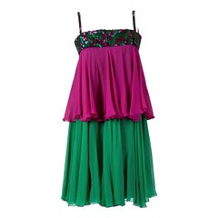 1960's Maisonette Couture Green & Fuschia Tiered Sequin Silk-Chiffon Party Dress