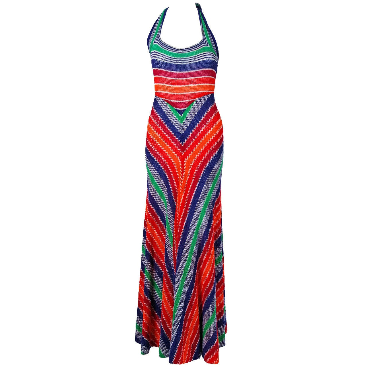 1970's Missoni Vibrant Rainbow Stripe Graphic Knit Bias-Cut Halter Maxi Dress 1