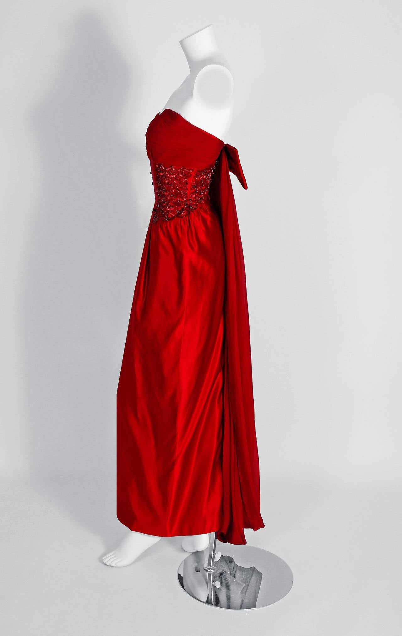 1950\'s Seductive Ruby-Red Beaded Satin Chiffon Strapless Hourglass ...