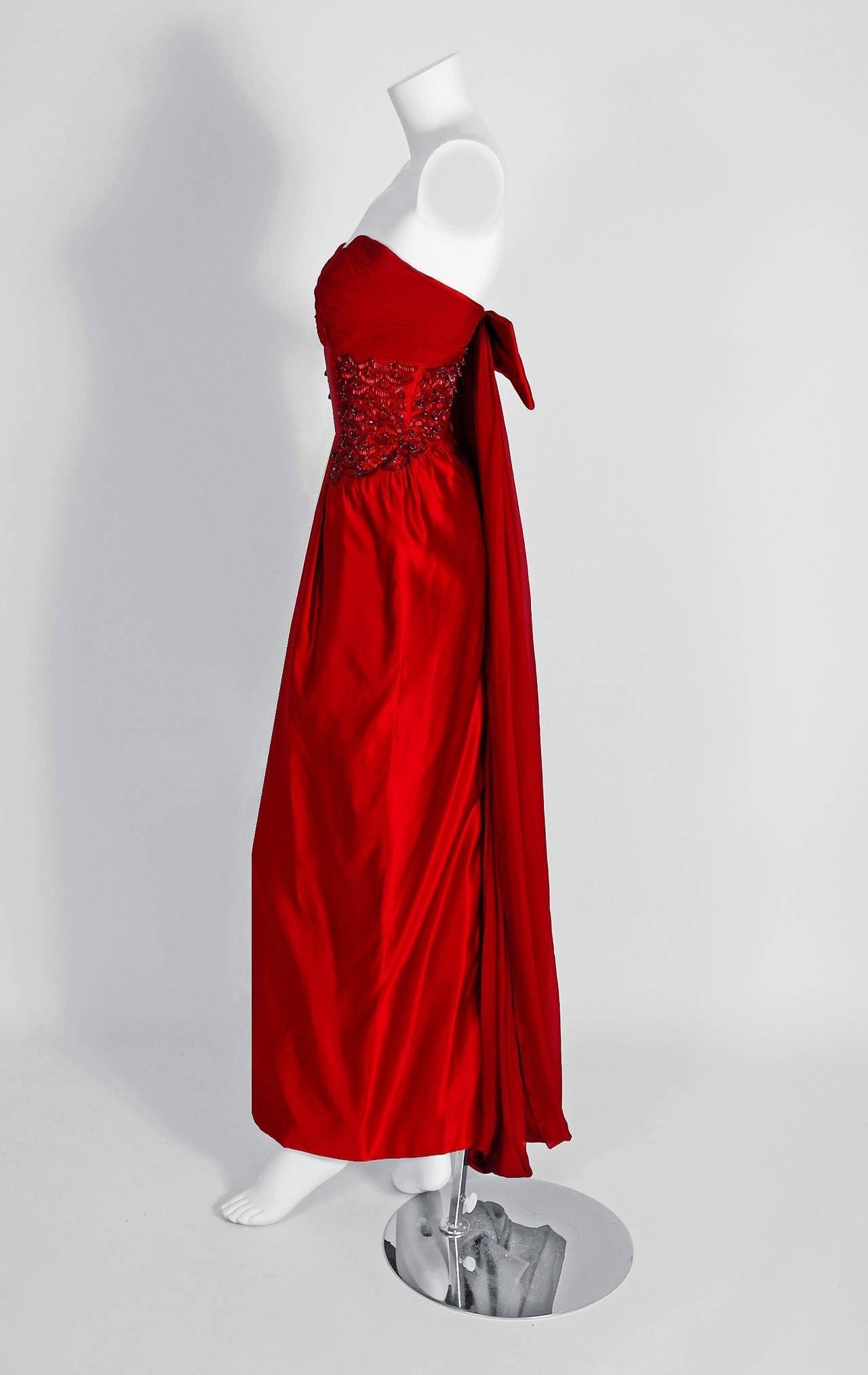 1950\'s Seductive Ruby-Red Beaded Satin Chiffon Strapless Hourglass ...