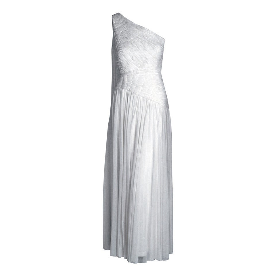 1970's Claude Riha Couture White Pleated Chiffon One-Shoulder Grecian Gown 1