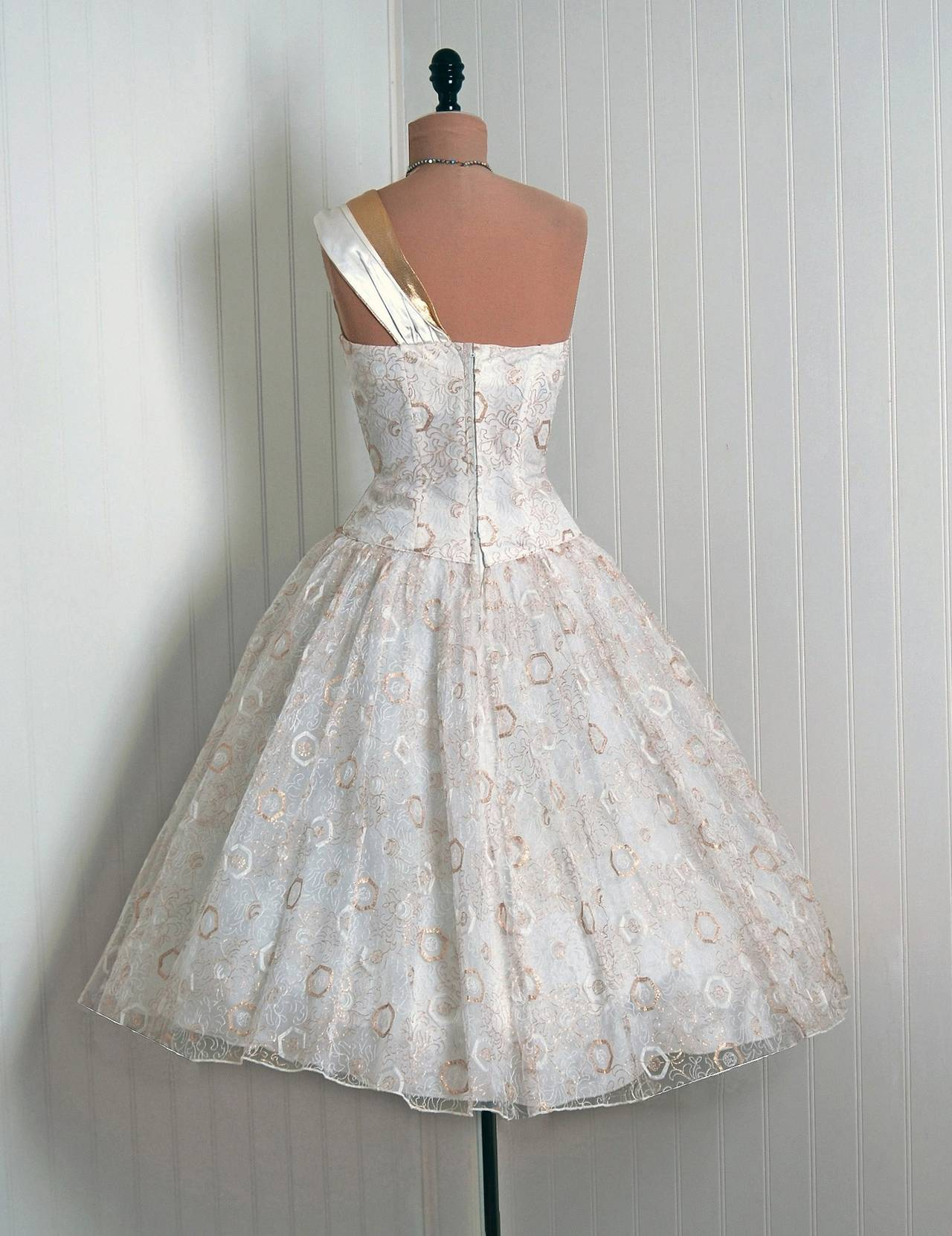Women's 1950's Emma Domb White & Gold Embroidered Tulle One-Shoulder Party Dress For Sale