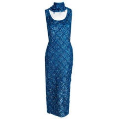 1950's Royal-Blue Beaded Sequin Sleeveless Knit Hourglass Evening Gown & Scarf