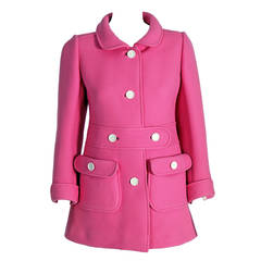 1967 Courreges Couture Bubblegum-Pink Wool Mod Space-Age Tailored Coat Jacket