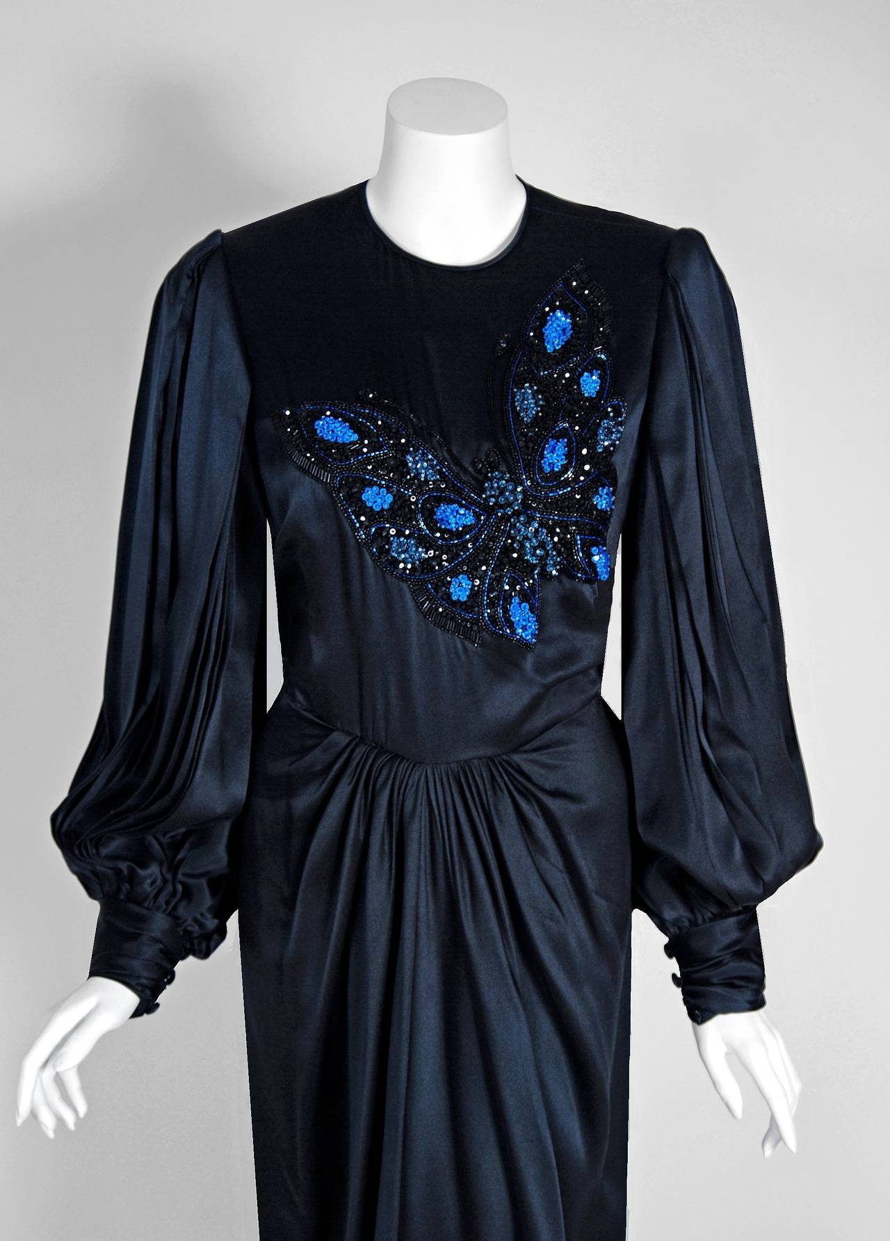 1970's Galanos Black Satin Beaded Butterfly Billow-Sleeves Draped Evening Gown 2
