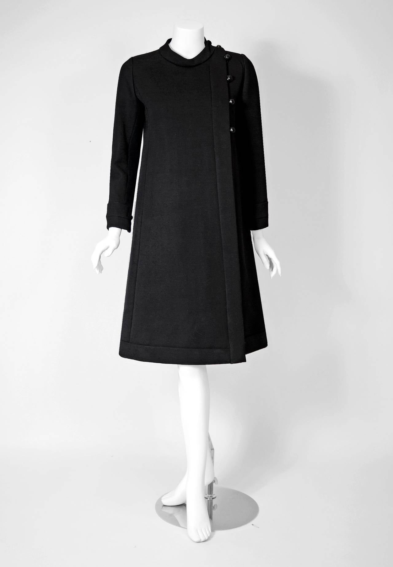 1960's Ronald Amey Black Tailored Silk-Twill Mod Space-Age Cocktail Dress & Coat 3