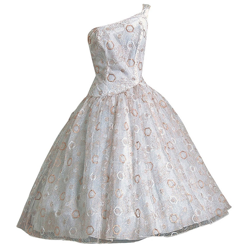 1950's Emma Domb White & Gold Embroidered Tulle One-Shoulder Party Dress 1