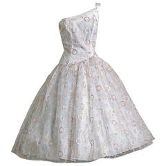 1950's Emma Domb White & Gold Embroidered Tulle One-Shoulder Party Dress