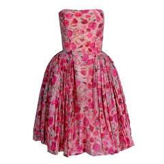 1950's Elizabeth Arden Couture Pink Watercolor Floral Silk Strapless Dress