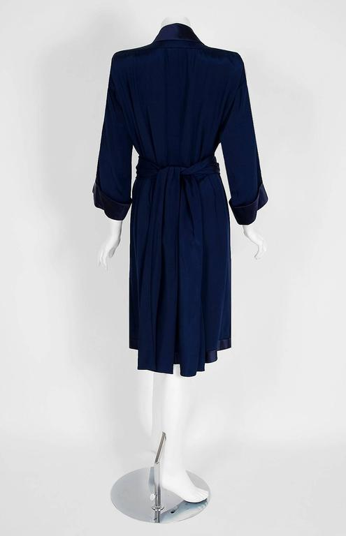 1979 Yves Saint Laurent Haute-Couture Navy Silk & Satin Kimono Sash Wrap Dress In Excellent Condition For Sale In Beverly Hills, CA