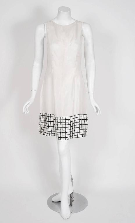 1967 Yves Saint Laurent Haute-Couture Black White Check Print Silk Pleated Dress 4