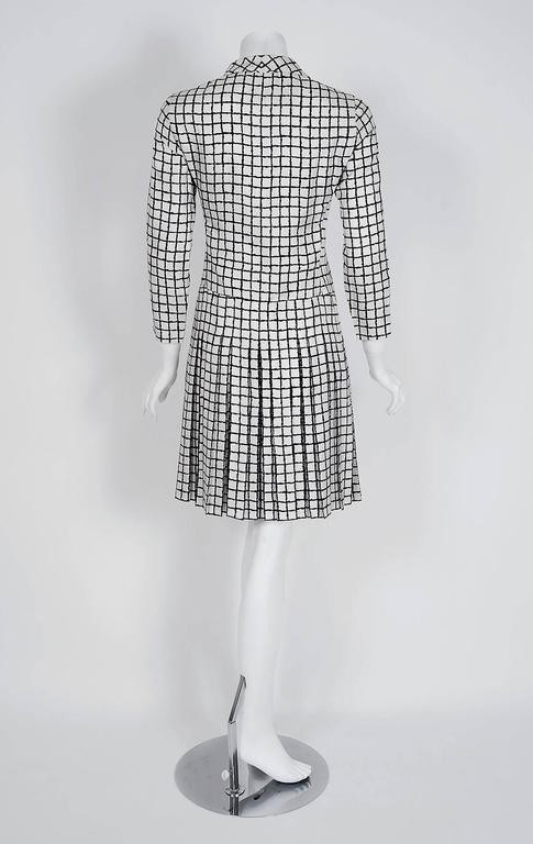 1967 Yves Saint Laurent Haute-Couture Black White Check Print Silk Pleated Dress 6