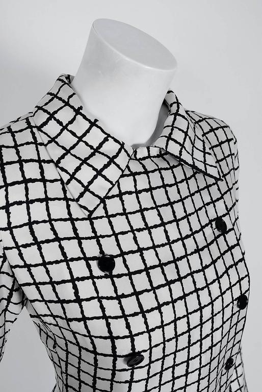1967 Yves Saint Laurent Haute-Couture Black White Check Print Silk Pleated Dress 3