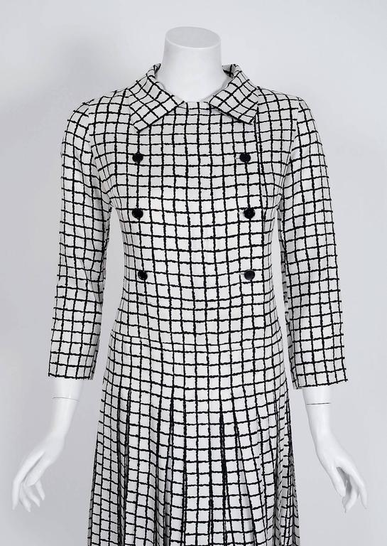 1967 Yves Saint Laurent Haute-Couture Black White Check Print Silk Pleated Dress 2