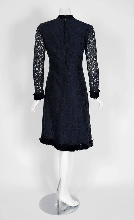 1965 Yves Saint Laurent Haute-Couture Black Lace & Velvet Tuxedo-Bow Dress   6