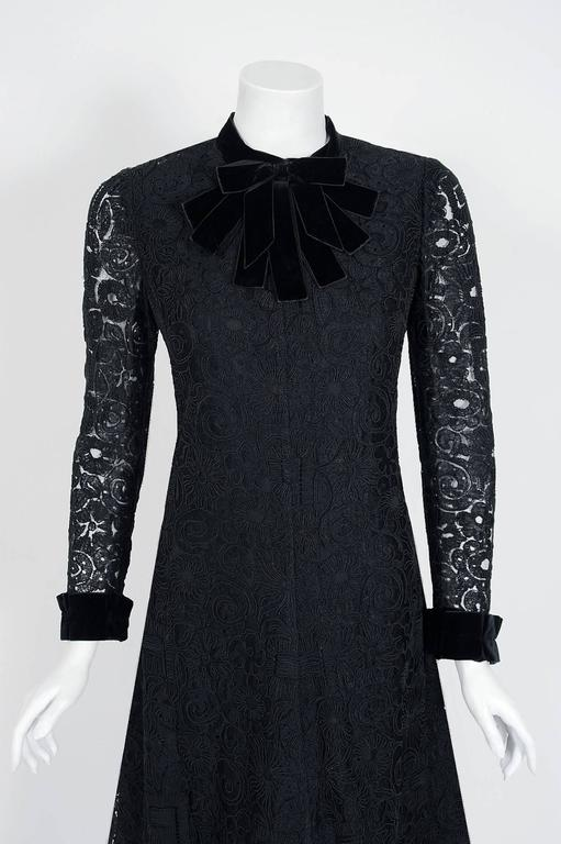 1965 Yves Saint Laurent Haute-Couture Black Lace & Velvet Tuxedo-Bow Dress   2