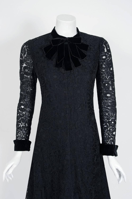 1965 yves saint laurent haute couture black lace and velvet tuxedo bow dress at 1stdibs. Black Bedroom Furniture Sets. Home Design Ideas