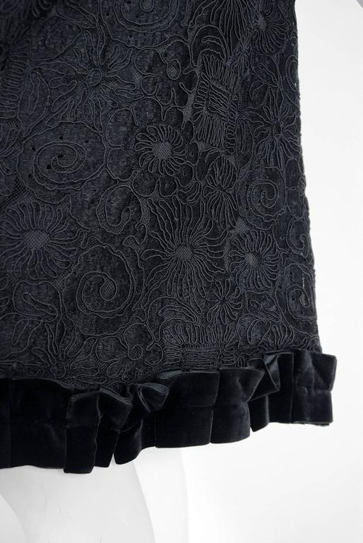 1965 Yves Saint Laurent Haute-Couture Black Lace & Velvet Tuxedo-Bow Dress   5