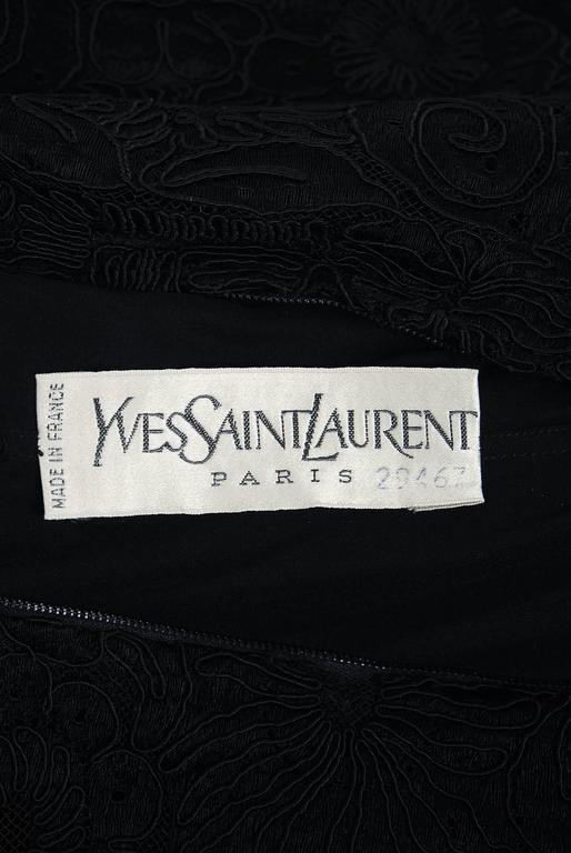 1965 Yves Saint Laurent Haute-Couture Black Lace & Velvet Tuxedo-Bow Dress   7
