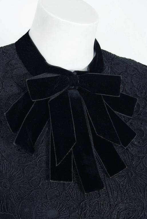 1965 Yves Saint Laurent Haute-Couture Black Lace & Velvet Tuxedo-Bow Dress   3